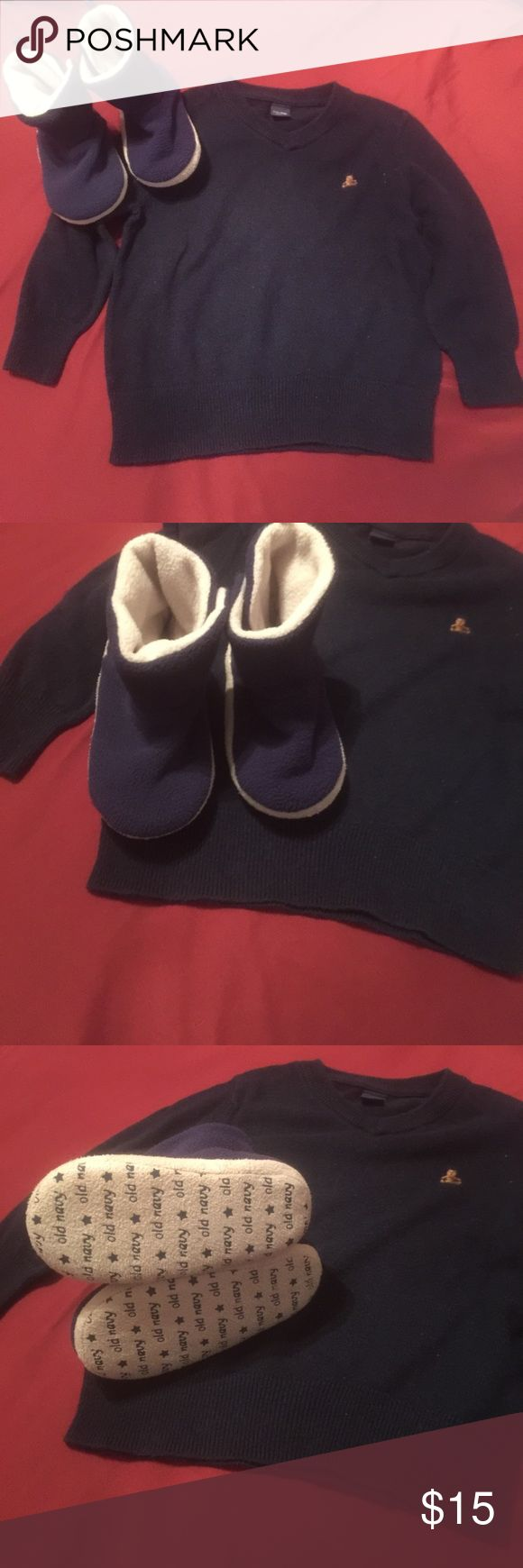 Baby gap sweater and old navy slippers Dark blue baby gap sweater in great condition and old navy slippers used maybe once or twice.  Can be sold together or separate. GAP Shirts & Tops Sweaters