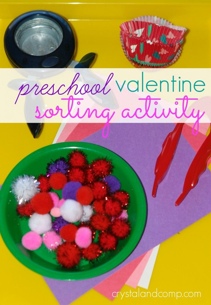 preschool sorting activity that is valentine themed using things you already have on hand