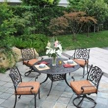 Cast Aluminum #Patio Furniture by Hanamint - St. Augustine Dining Set - Sheridan Nurseries. For more inspiration, visit us at: http://www.sheridannurseries.com/products_and_services/outdoor_living