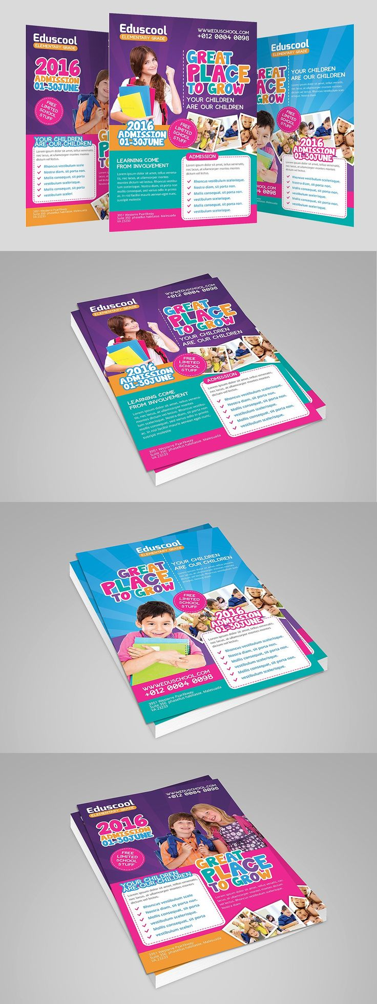 Elementary School Promotion Flyer Templates PSD
