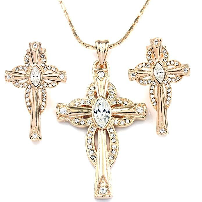 FANCY COLLECTION Rose Gold GP Clear Crystal Cross Necklace Earrings Jewelry Sets
