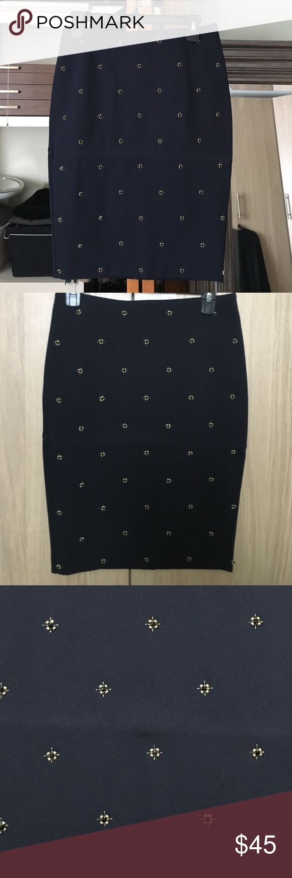 Ann Taylor navy blue skirt Navy blue skirt with gold beaded detailing. Zip in back. Never worn with tag Ann Taylor Skirts Pencil