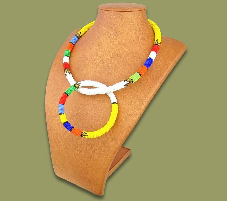 Zulu Necklace Bangle Set White #1 Bead