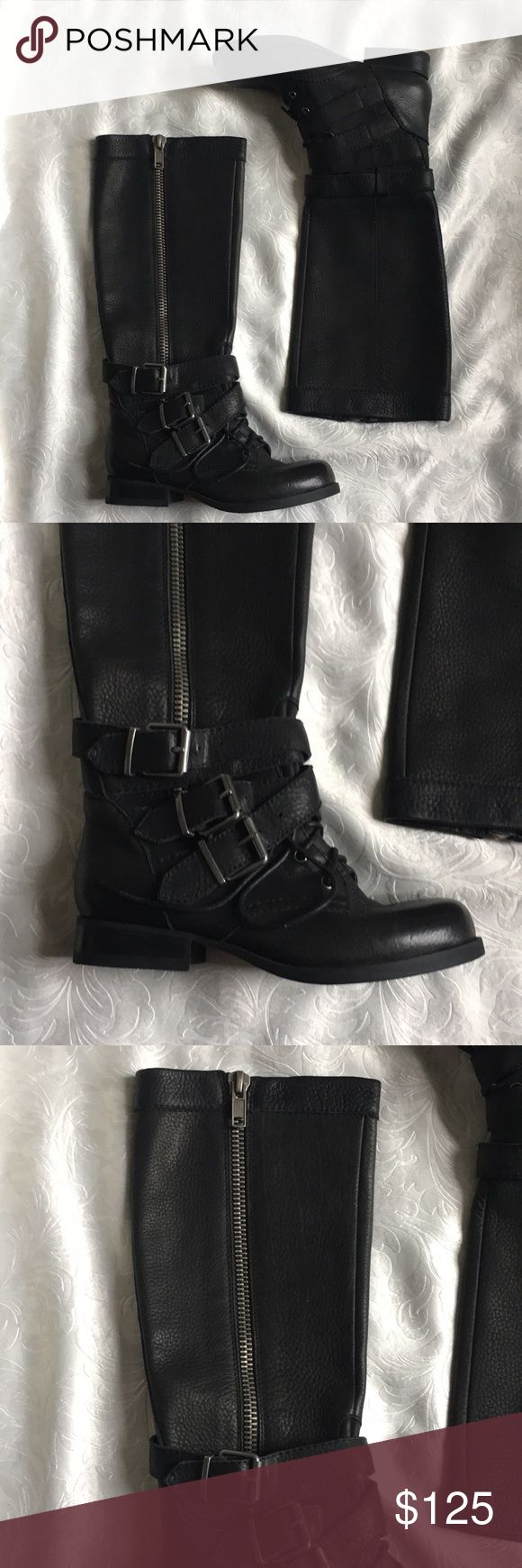 Genuine Leather Black ALDO Boots These were worn once for about 2 hours.  They are real leather so they need to be cared for well and weather proofed. Incredible quality. Flaw free :) Unfortunately I don't have the box for them anymore.  Please feel free to ask questions and I'd be happy to bundle up a few of your favorites at a discounted price!! :) Aldo Shoes Combat & Moto Boots