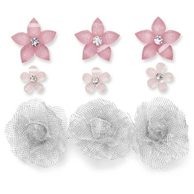 """Bitty Buds Assortment - $4.95 --  9 flowers: 3 silver mesh, ¾""""; 6 glitter, 3/8"""" and 5/8""""; Blush, Cotton Candy.Bud Assorted, Bitty Bud, Cotton Candy, Blushes E.L.F., Silver Mesh, Lucy Retirement, Cotton Candies"""
