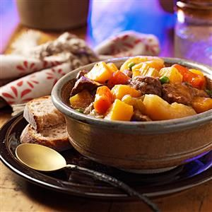 Hearty Hunter's Stew Recipe -Moist, tender meat and thick, rich gravy are the hallmarks of this classic recipe slow-simmered in a cast-iron pot. —Joyce Worsech, Catawba, Wisconsin