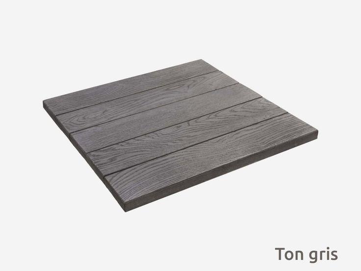Dalle carrée en pierre reconstituée grise imitation bois
