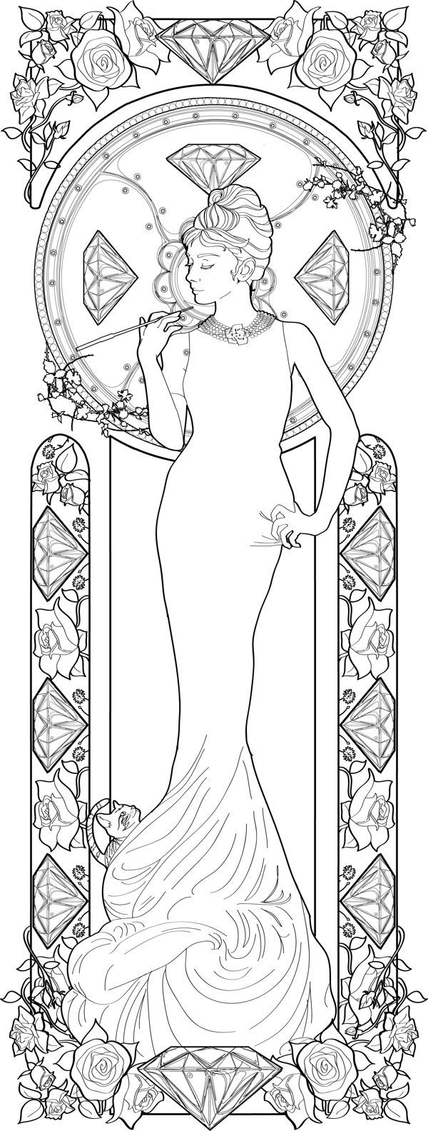Alphonse Mucha coloring pages | Audrey Hepburn by Azael OlmosHoliday Quotes, Hepburn Sketches, Hepburn ...