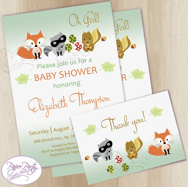 Woodland Baby Shower Invitation Fox Forest Baby Shower Invitations Baby Shower Invitation Invites - Free Thank You Card by PaperPartyDesignUS on Etsy