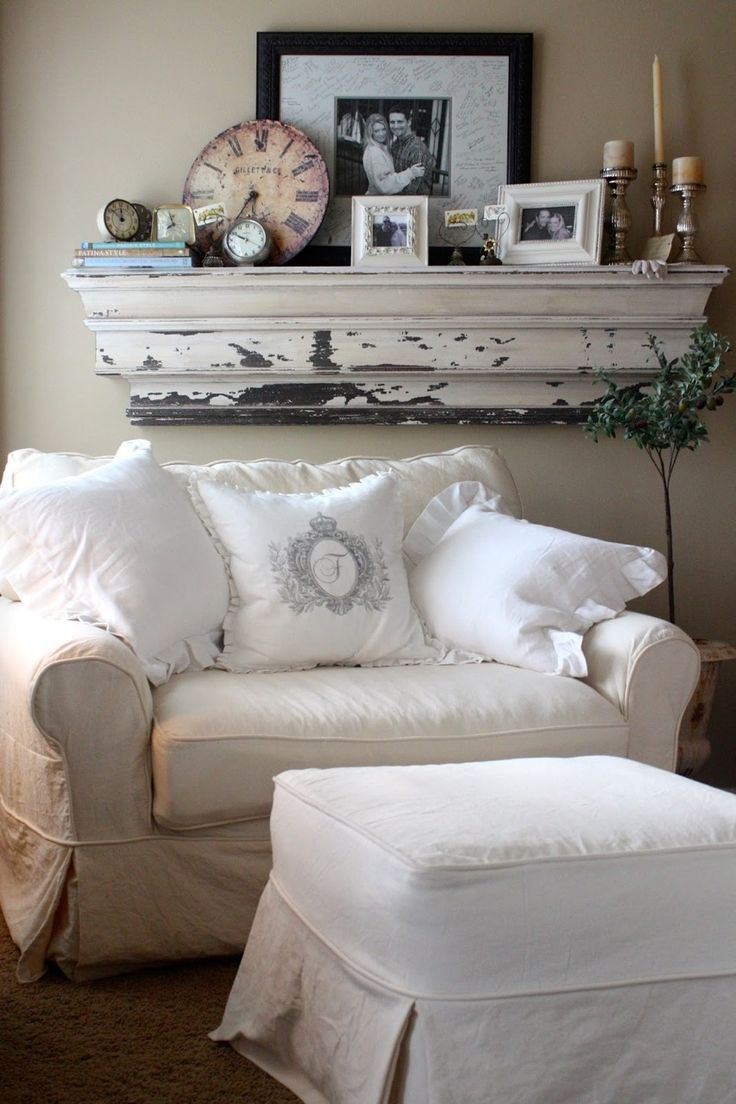 Cozy Reading Nook With Oversized Chair And Pillows. Large White Chippy  Shelf Loaded With Vintage