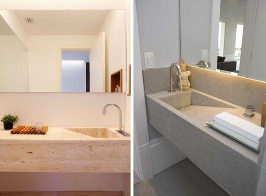 Bancada esculpida em mármore travertino com torneira Deca  Loft SENAC  Pint -> Cuba Dupla Banheiro Deca