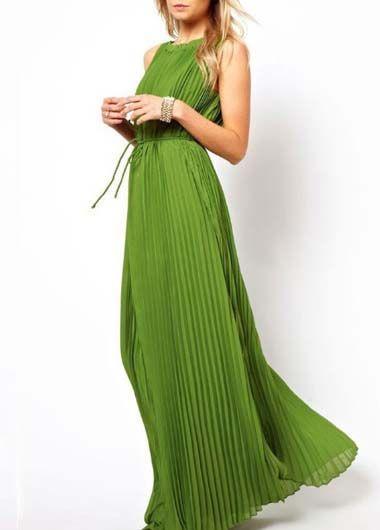 Beach Essential Round Neck Sleeveless Woman Dress Green