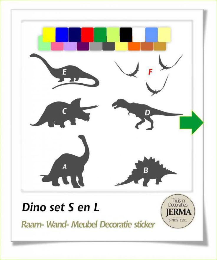 Raam-, Wand decoratiesticker dino sticker muurstickers Dinosaurus jongenskamer stickers dino