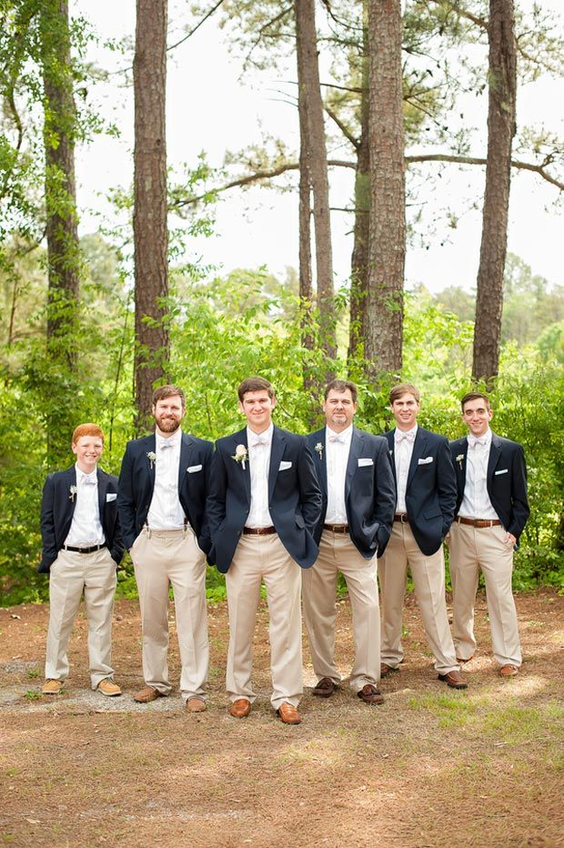 Groom + groomsmen photo | groomsmen are wearing navy blazers and khaki pants | A Vintage Wedding at Collins Old Towne in Central, SC | Southern Jewel Photography