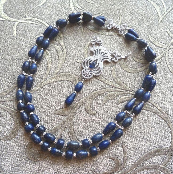 """Купить Колье-трансформер """"Midnight flower"""" (лазурит, цирконы) - тёмно-синий, синий, лазурит"""
