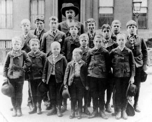 "ORPHANS: A group of male ""orphan train"" arrivals in Minnesota. Children ended up in loving homes with childless couples or with families who had lost a child to scarlet fever. But sometimes the train orphans were taken just for their labor. Orphans went out to every state but Mississippi. The Midwest was the most accommodating section of the nation."