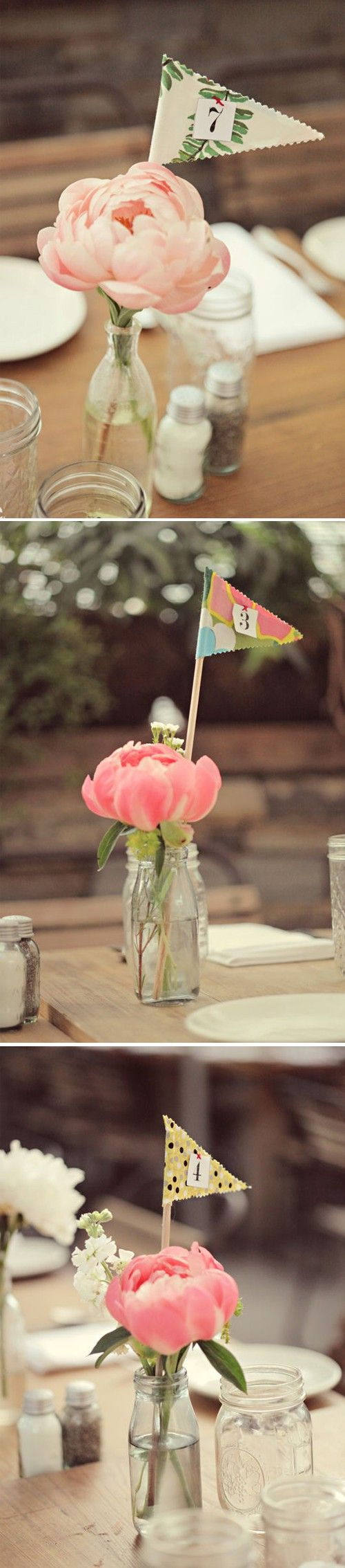 Adorable ideas for centerpieces and table numbers. Relatively cheap and easy to assemble, too.