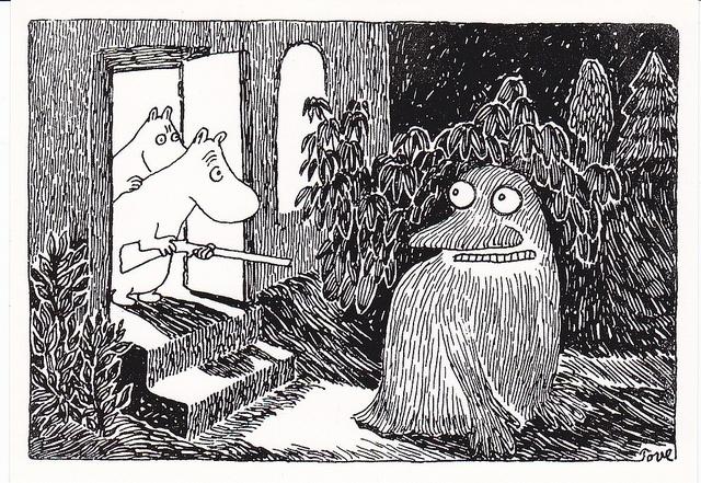 """""""Ja se oli kauheaa. Kukaan ei tullut hyökänneeksi hänen kimppuunsa. Hän istui paikallaan jonkin aikaa ja liukui sitten puutarhan pimeyteen. Mutta siitä kohdasta, missä hän oli istunut, oli maa jäässä."""" Taikurin hattu"""