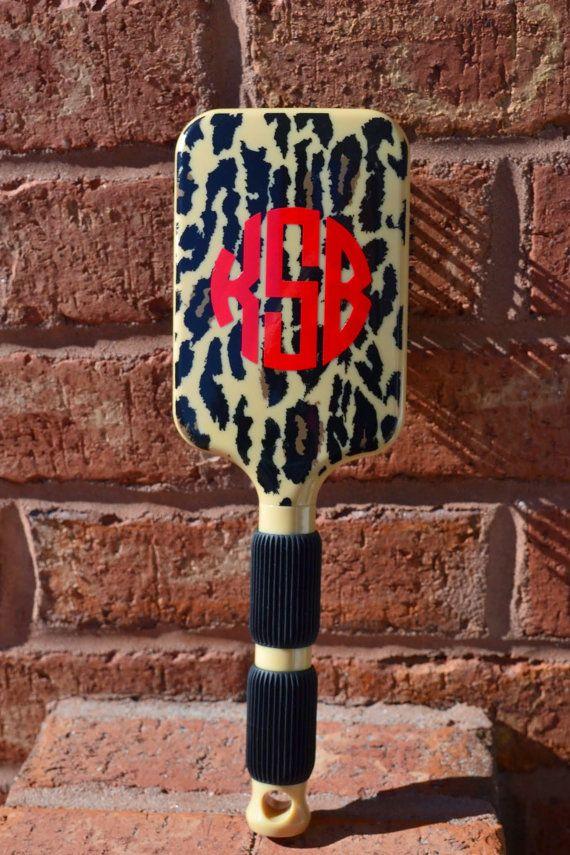 Monogrammed Cheetah Hair Brush Stocking by embellishboutiquellc