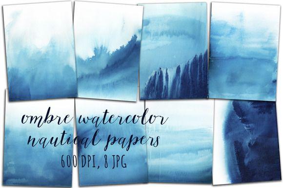 Ombre Watercolor Papers by swiejko on Creative Market