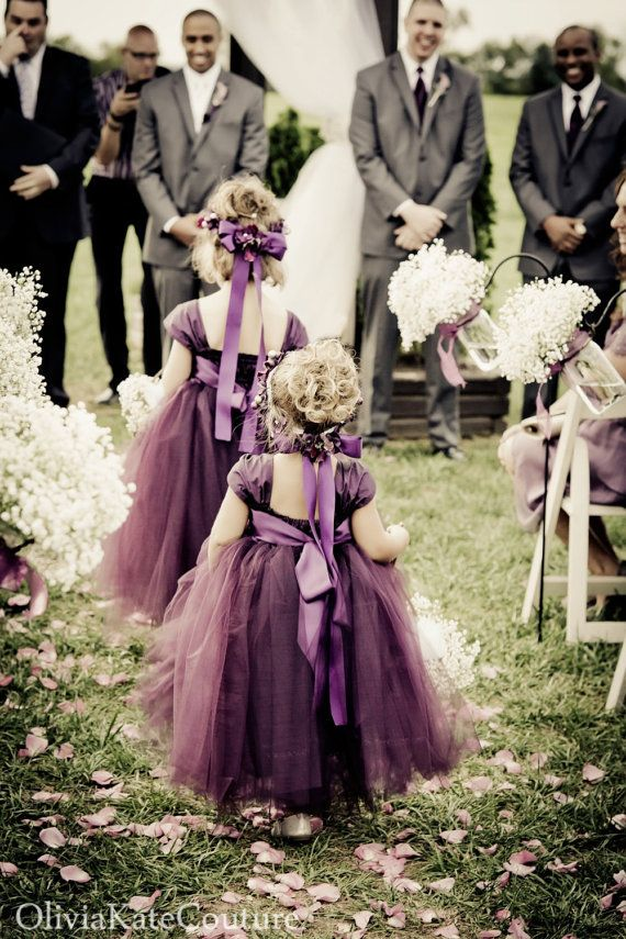 Adorable, fluffy flower girl dresses in shades of purple tulle; cute top.  Plum Flower Girl Dress by OliviaKateCouture on Etsy, $145.00