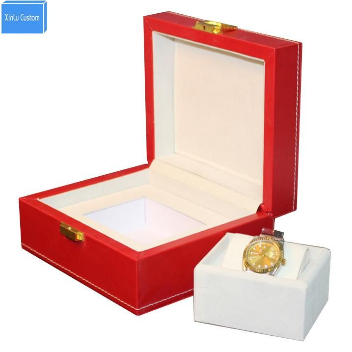 Luxury big red leather watch box display case Jewelry hour box display box promotion, May customize cajas de regalo para relojes