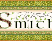 Irish surname Smith intricately rendered with celtic knots, original design