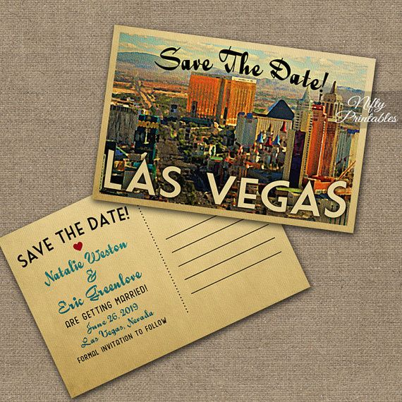 This DIY vintage travel Save The Date postcard features Las Vegas, Nevada in fun mid-century retro style.    Matching wedding invitation is here:
