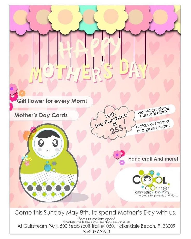 Come #tomorrow May 8th to spend #MothersDay at #CoolCornerBistro !  #gulfstream #gulfstreampark #hallandale #hallandalebeach