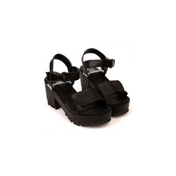 Black Chunky Sandals (FREE SHIPPING) (53 AUD) ❤ liked on Polyvore featuring shoes, sandals, heels, black, heeled sandals, high heel shoes, chunky heel sandals, platform heel sandals and high heel sandals