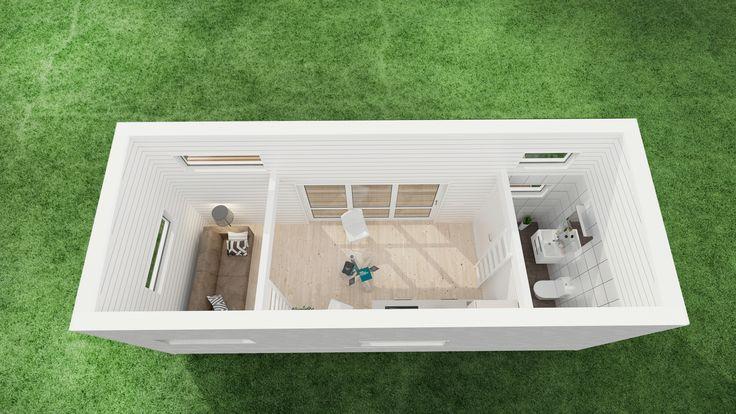 Attefallshus Rymlig   loft sovrum kök och bad   Helahuset.se Dubbla loft!