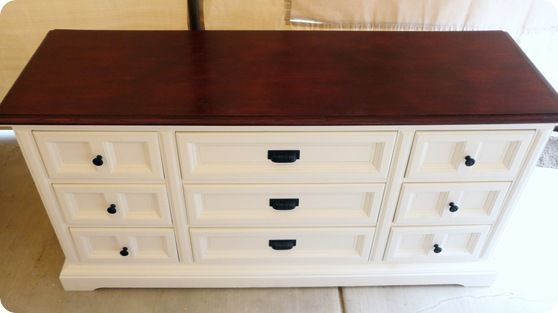 2-Toned Dresser Painted a Creamy White with a Mahogany Stained Top.