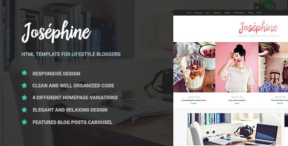 Josephine is a HTML template for lifestyle bloggers, but can be used by bloggers of all types....