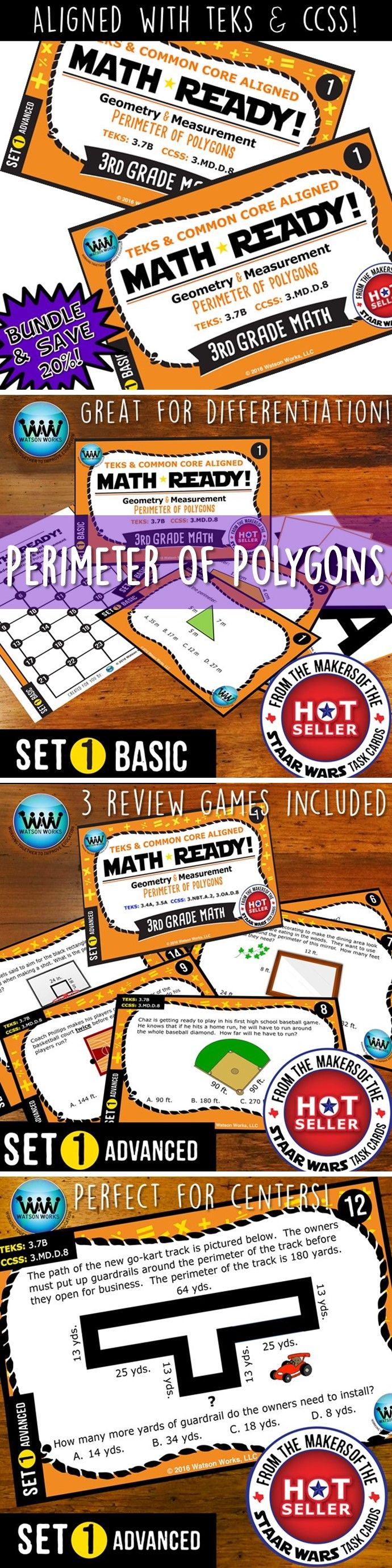 SAVE 20% WHEN YOU PURCHASE THIS BUNDLE (includes both our Basic & Advanced MATH READY Perimeter of Polygons Task Cards sets)! Both sets include 24 task cards w/ multiple choice answers. The BASIC set helps your students practice & apply their understanding of perimeter at a simpler, basic level with shorter questions, while the ADVANCED set features rigorous, higher-level thinking questions w/ longer word problems, making them great for differentiation. $4.78 #taskcards #3rdgrade #iteach3rd