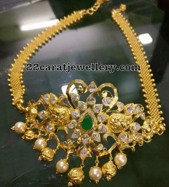 CZ Antique Choker with Armband - Jewellery Designs