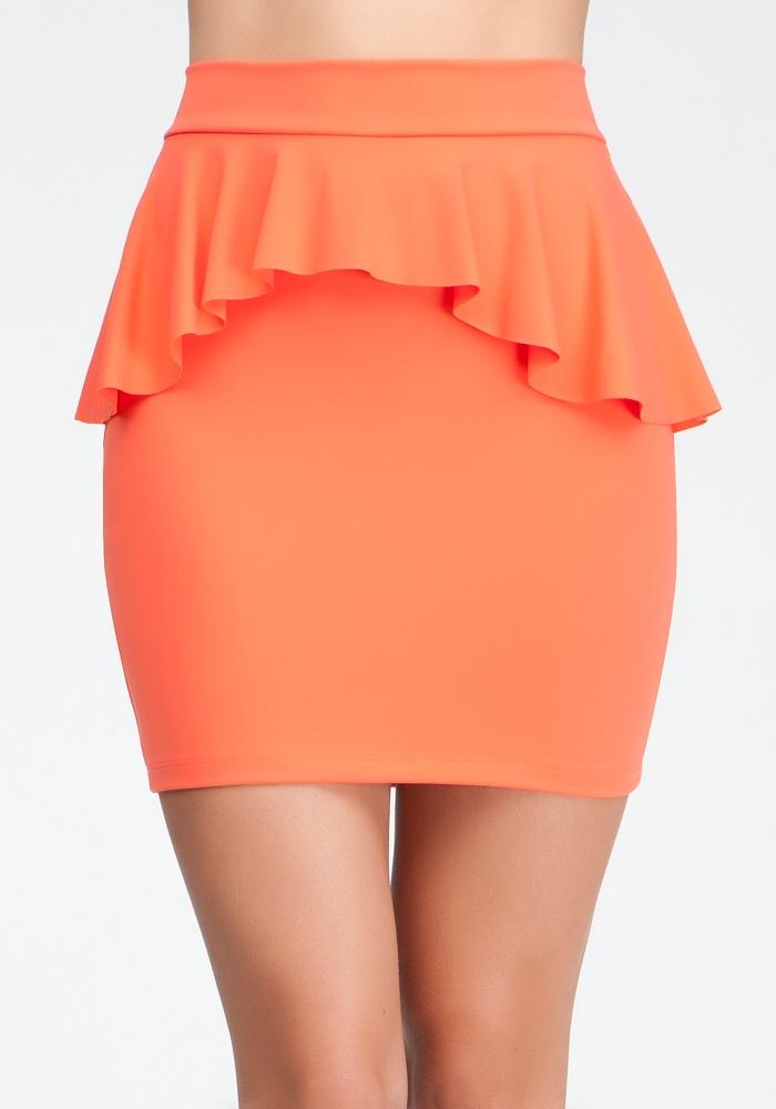 Peplum Knit Pencil Skirt - Hot Coral - L