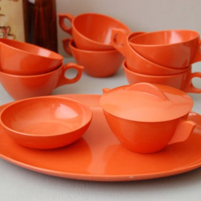 Vintage Orange Tea Set & 74 best Vintage u0027Melmacu0027 Red/Orange ??????? images on ...