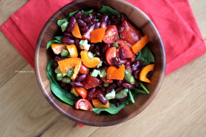 Salade met kidneybonen en paprika van fitbeauty.nl Voedingsdagboek November 2014