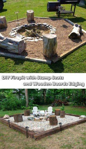 DIY Fire Pit with Stump Seats and Wooden Boards Edging.