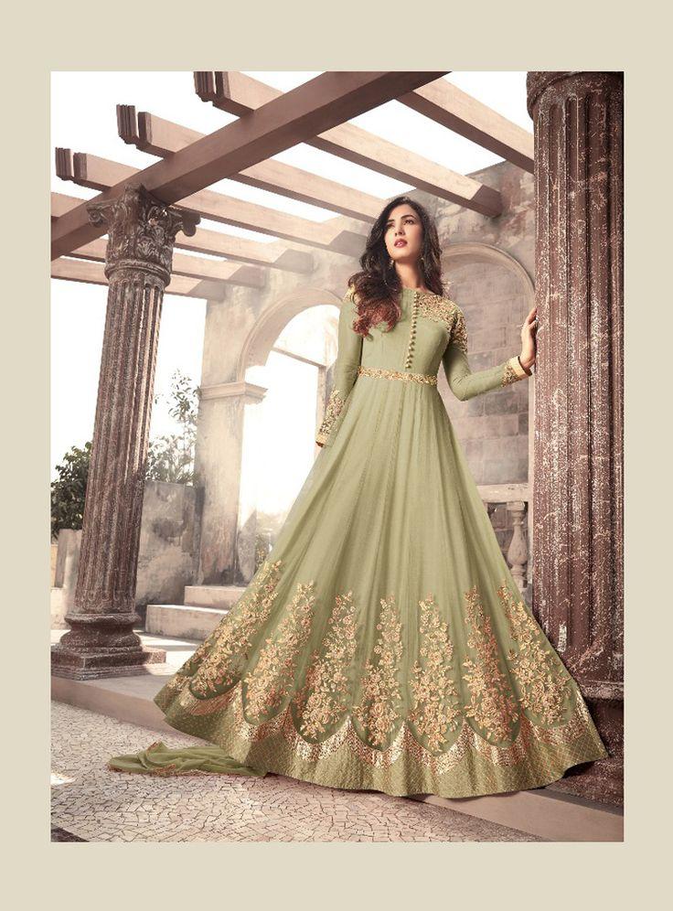 Sonal Chauhan Green Net Floor Length Anarkali Suit 127080