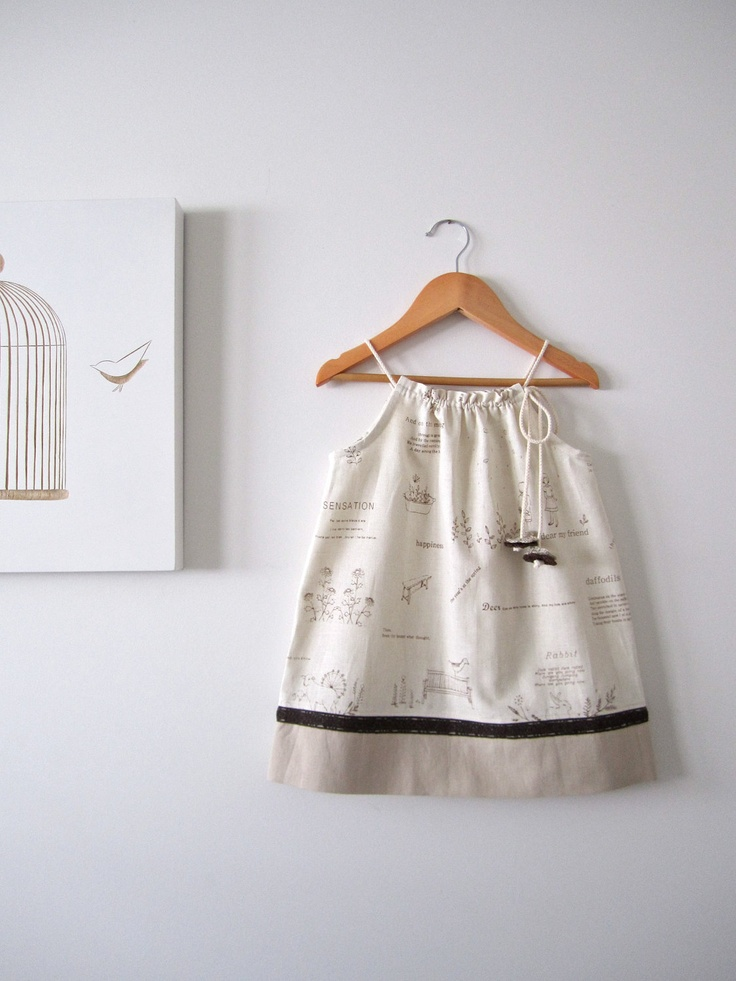 Woodland Baby Dress Natural Linen And Cotton Girl Toddler