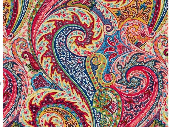 Paisley Linen Fabric - Modern Paisley Upholstery Fabric by the Yard - Pink Blue Drapery Fabric - Linen Curtain Material - Paisley Decor
