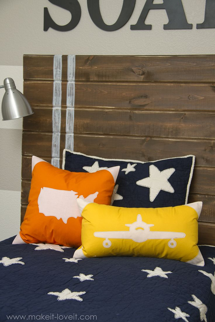 Appliqued Plane & USA Map Pillow Covers (with envelope closure) --- Make It and Love It