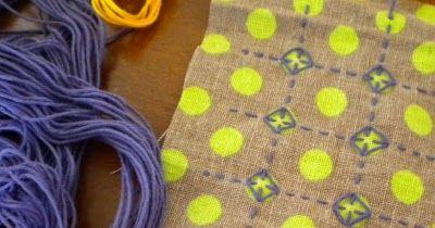 Achei super interessante essa técnica de bordado japonês. Principalmente por sair do tradicional e utilizar tecido de bolinhas. Chama...