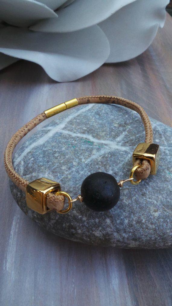 Black and gold bracelet. Minimalist bracelet. Lava rock bracelet.Statement bracelet. Dot bracelet. Cork bracelet with lava stone.