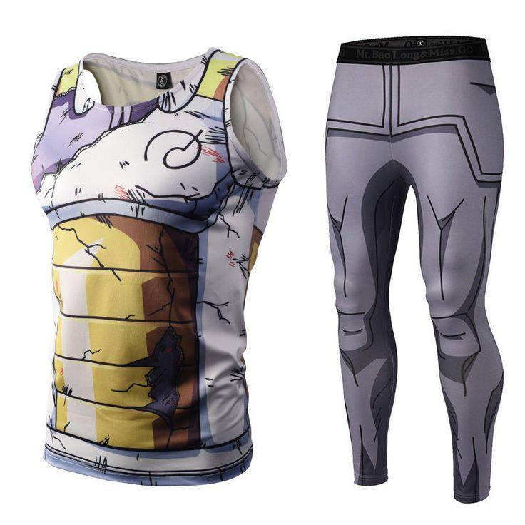 Details about men 3d vest anime vegeta pattern gym stretch