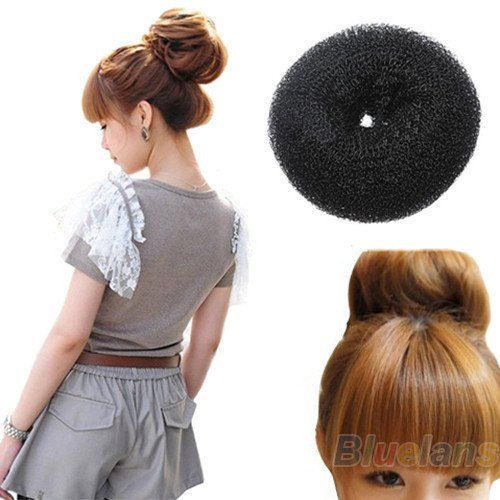 2pcs Hair Donut Bun Ring Shaper Roller Styler Maker Black Hairdressing Elastic Round Nylon -- Details can be found by clicking on the image.
