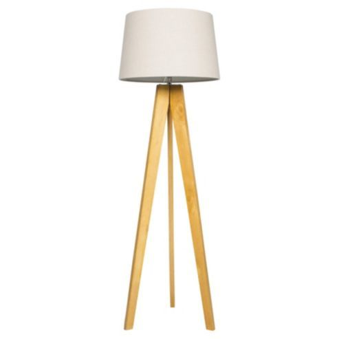Tesco Tripod Floor Lamp, Light Natural/Linen Shade