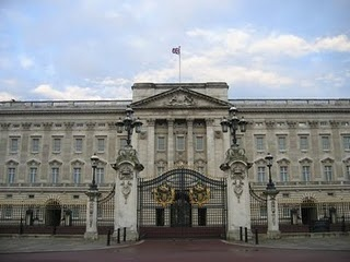 """Buckingham Palace in London, England.  The changing of the guard is a must see.  All the wonderful bag pipes. The queen was """"in"""" when we were there."""