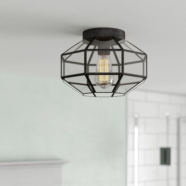 This Semi Flush Mount Features A Black Metal Cage With Glass Shade That Will Complement Urban Industrial And Flush Mount Ceiling Lights Semi Flush Flush Mount Flush mount cage light